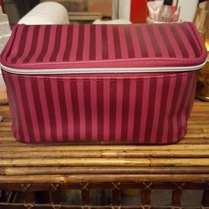 NWOT Burgundy striped Lancome makeup case